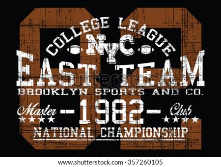 Brooklyn Sport College League Vector Print Stock Vector (Royalty