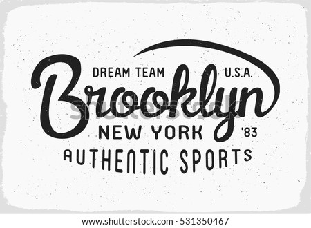 4b0e5358 Brooklyn Sport print in black and white for t shirt or apparel. Retro  varsity style