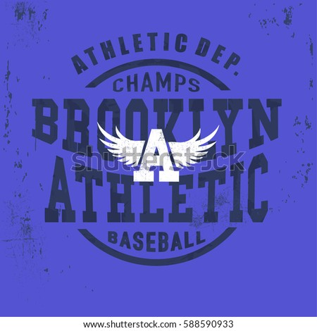 8625d7c2 Brooklyn Vintage Denim print for t-shirt or apparel. Old school vector  graphic for fashion and printing. Retro artwork and typography.Baseball  emblem.
