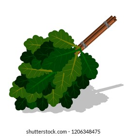 Broom for a bath or sauna from oak branches. Vector illustration.