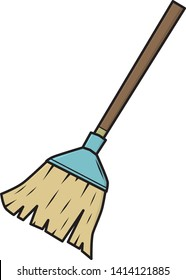 Broom / cartoon vector and illustration, isolated on white background