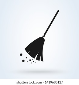 Broom cleaning Simple vector modern icon design illustration