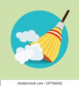 broom in dust clouds flat icon design