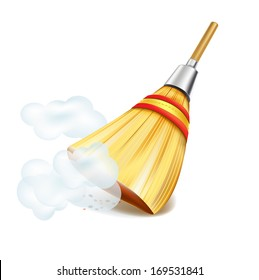 broom in dust clouds isolated on white backgrounds