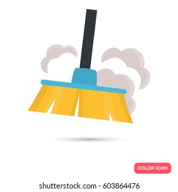 Broom and dust color flat icon for web and mobile design