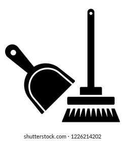 Broom with dustpan, brooming tools