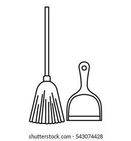 Broom and dustpan icon. Outline illustration of broom and dustpan vector icon for web