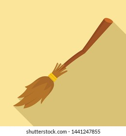 Broom icon. Flat illustration of broom vector icon for web design