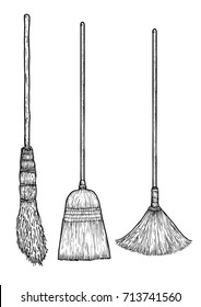 Broom illustration, drawing, engraving, ink, line art, vector