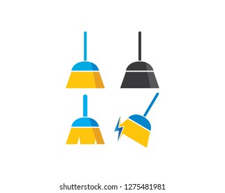 Broom logo illustration vector template,symbol of cleaner
