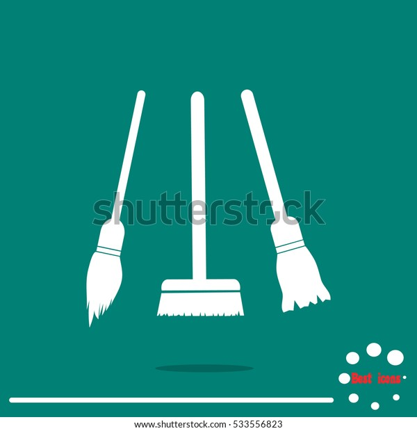 broom and a mop. Cleaning icon