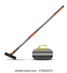 Broom and stone for curling