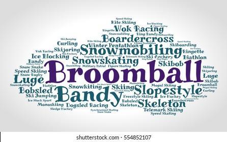 Broomball. Word cloud, italic font, grey gradient background. Winter sport.