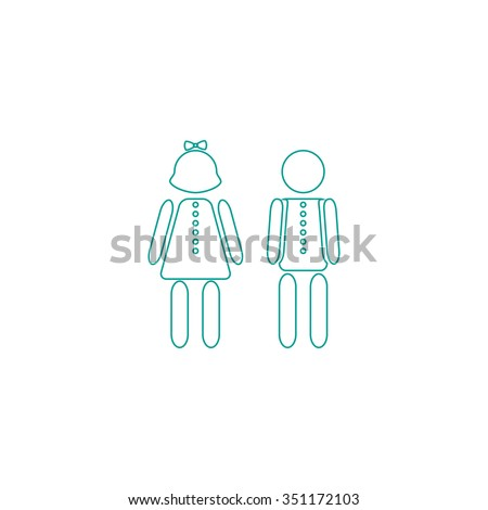 Brother Sister Outline Vector Icon On Stock Vector Royalty Free