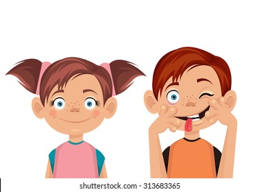 Brother and sister. Vector flat illustration