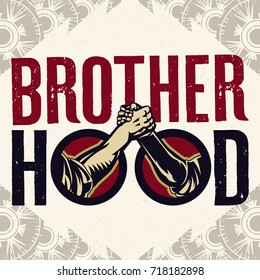Brotherhood Sign Of Arm-wrestling Handshake Logo. Vintage propaganda poster and elements. Isolated artwork object. Suitable for and any print media need.