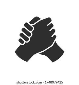 Brotherly handshake vector icon on white background