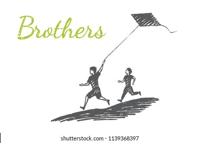 Brothers concept sketch, vector hand drawn illustration. Two brothers run down the slope and launch a kite.