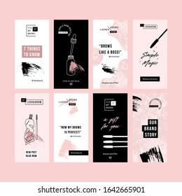 Brow bar design templates. Social media vertical designs. Beauty branding. Vector illustration