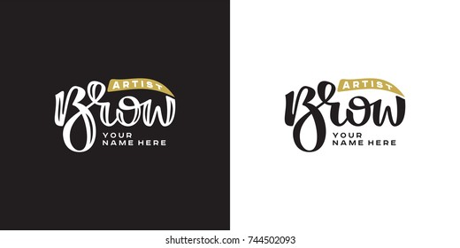 Brow bar hand drawn lettering logo. Vector illustration template.
