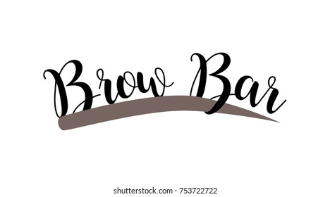 Brow bar hand drawn lettering logo. Vector illustration template. Vector logo for beauty studio brow bar, Female Eyebrow Illustration Isolated