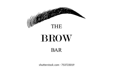 The Brow Bar logo for beauty studio with hand drawing eyebrow, Female Eyebrow Vector Illustration Isolated