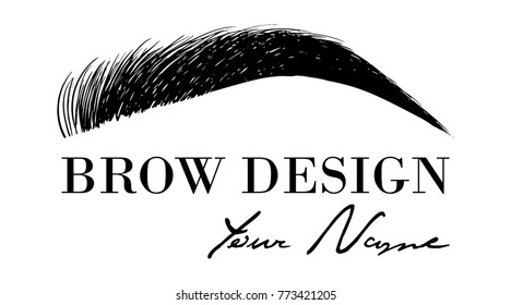 Brow design logo business card template with hand drawing eyebrow. Vector logo for beauty studio brow bar, Female Eyebrow Illustration Isolated