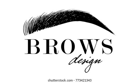 Brow design logo business card template. Beautiful hand drawing eyebrows for the logo of the master on the eyebrows. Business card template.