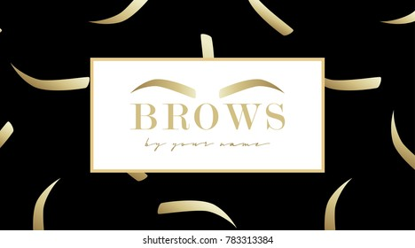 Brow design logo business card template with gold eyebrow and with eyebrows seamless print on black background. Vector logo for beauty studio brow bar. Female graphic Eyebrow Illustration