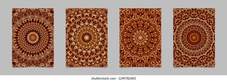 Brown abstract flower garden mandala brochure background template set - ethnic vector stationery graphics