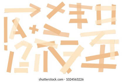 Brown adhesive, sticky, masking, duct tape, paper pieces for text are isolated on white background.