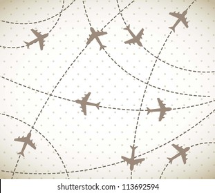 brown airplanes over vintage background. vector illustration
