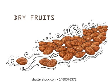 Brown almond vector. Flat illustration of brown almond vector illustrations