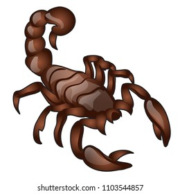 Brown animated scorpion with glossy surface isolated on white background. Vector cartoon close-up illustration.
