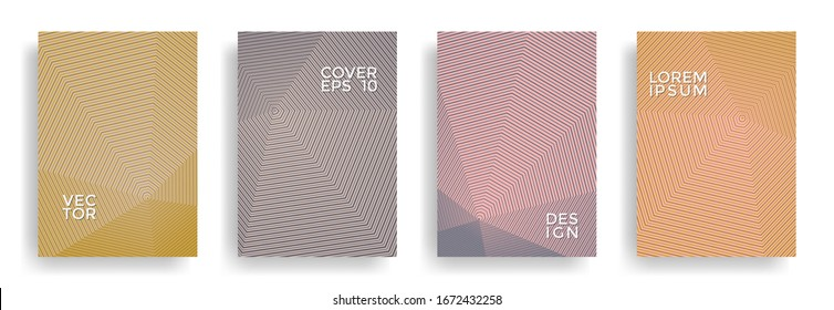 Brown annual report design vector collection. Halftone lines texture cover page layout templates set. Report covers geometric design, business booklet pages corporate templates.