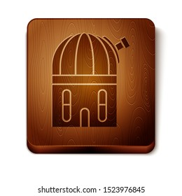 Brown Astronomical observatory icon isolated on white background. Wooden square button. Vector Illustration