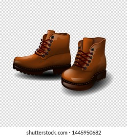Brown autumn boots for men, children. 3D on transparent background. isolate.