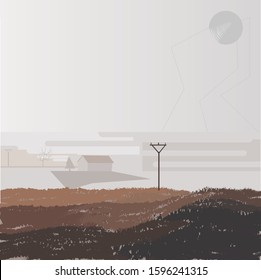 brown autumn picture with pillar, house, fog, dankness, dampness, dullness, hopelessness, gloom, vector illustration