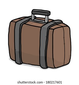 brown baggage / cartoon vector and illustration, hand drawn style, isolated on white background.
