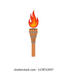 Brown bamboo torch with bright fiery flame. Decorative flat vector element poster or flyer of beach party