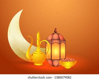 Brown banner or poster design with crescent moon, illuminated lantern, dates bowl, and arabic jug illustration for Iftar party celebration.