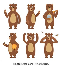 Brown bear cartoon. Wild animal standing at different poses nature characters vector collection. Illustration of brown bear happy, wild character animal