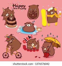 brown bear character collection, Different cute emotions and activities to diet Isolated on color background.