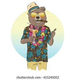 brown bear dressed up in aloha shirt with cocktail, furry art illustration, fashion animals, hipster animals, summer holidays