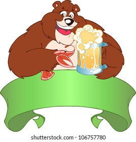 Brown bear drinking beer.He holds in his paws a mug of beer and shrimp.