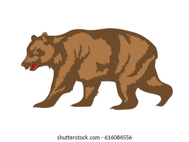 Brown bear mascot. Design element for logo, banner, icon or emblem. Graphic symbol of nature, forest, wildlife and wild animal. Retro illustration of grizzly on white background
