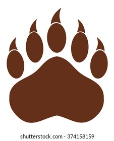 Brown Bear Paw With Claws. Vector Illustration Isolated On White