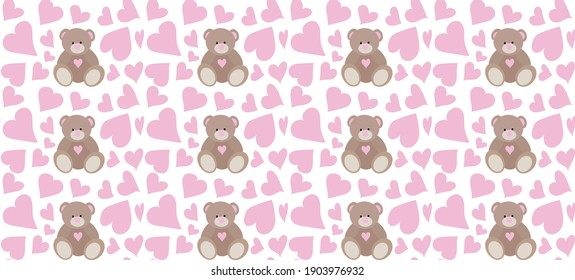 Brown bear and pink hearts-pattern for February 14