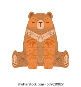 Brown Bear Relaxed Cartoon Wild Animal With Closed Eyes Decorated With Boho Hipster Style Floral Motives And Patterns