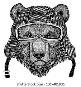 Brown bear Russian bear Animal wearing motorycle helmet. Image for kindergarten children clothing, kids. T-shirt, tattoo, emblem, badge, logo, patch